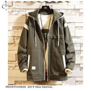 2019 Autum 패치 워크 후드 티 남자 의류 야외 Streetwear 재킷 Autum 포켓 지퍼 캐주얼 재킷