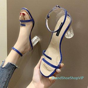 Pop2019 Женщина Ins Tide Одно слово Bring Transparent High Fairy Feng Shui Грубые зерна с Posimi Вторые сандалии