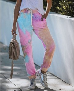 2020 Womens Designer Long Pants Spring Summer Home Clothing Sport Tie Dye Print Trousers Female Clothing