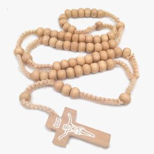 2020 Colar Pingente Nova moda para homens cruz de madeira perla colares simples Católica Jesus Christian Religious Jewelry Acessórios M468A
