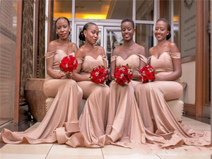 All Size Bridesmaid Dresses Off Shoulder Sweetheart Summer Backless Sweep Train African Party Wedding Guest Gowns Maid Of Honor Dress