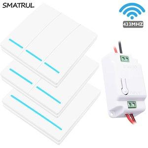 SMATRUL 433MHZ 무선 스마트 라이트 스위치 RF 원격 제어 1000W 50M AC 110V 220V 수신기 벽 패널 푸시 버튼 베드룸 램프 T200605