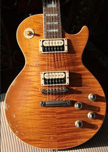 Custom Shop Relic SLASH # 5 AFD MURPHY ÂGÉ SIGNÉ Appétit Guitare Électrique Pour Destruction Tiger Stripes Top Maple