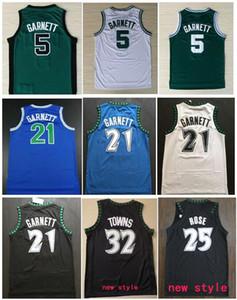 Лучшее качество # 21 Kevin Garnett Jerseys Черно-синие белые сшитые рубашки Derrick 25 # Роуз Джерси Карл-Энтони 32 # Города Эндрю 22 # Уиггинс