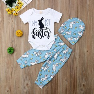 2019 Hot Selling Lovely Baby Boy Girl 3PCS Sets Outfits My First Easter Romper+Pants+Hat 3Pcs Outfits Clothes