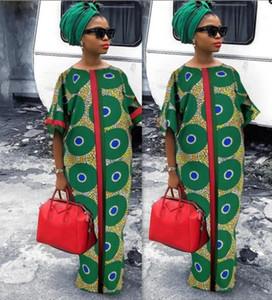 XXL Dress Trend 2019 African Dresses Women Digital Printing Fashion Short-Sleeve Dashiki Plus Size Vestidos Largos Plus