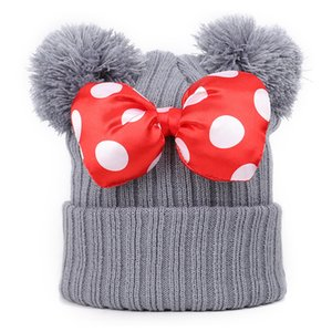 4 colors Baby Pom Pom beanie cap Toddler Kids Baby Girls Winter Warm Crochet knitted hat Bow Fur bow hat Wholesale BJY820