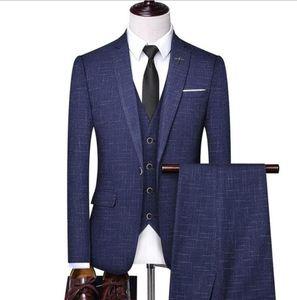 Man New Striped Suit British Suit Mens Casual Slim Three-piece Mens Wedding Banquet Dress