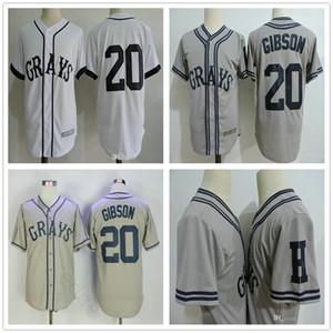 Ucuz Erkek 20 Josh Gibson Greys Jersey Movie Negro Ligler NLBM Homestead Greys Dikişli filmi Beyzbol Beyaz Formalar S-3XL
