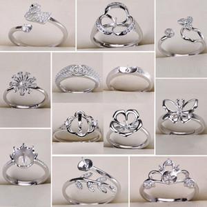 Impostazioni di anelli di perle fai da te Zircone solido argento 925 impostazioni anello anello per donne montaggio anello vuoto gioielli fai da te regalo