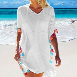 Maillots de bain Beachwear Bikini Summer Cover Up Tassel Boho Casual Beach Party en vrac Chemisier Chemise Sundress