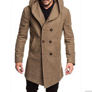 Erkek Yün Coat Erkekler Kapşonlu Coat Moda İş Casual Slim Fit Kıllı Erkek Uzun Ceket Büyük Beden S-3XL