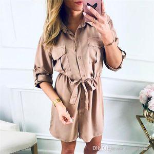 Vestidos de color sólido de la solapa del cuello de la manga larga casual de las señoras vestidos de diseñador camisa para mujer de Calle con los marcos para mujer otoño