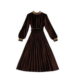 Femmes 2019 Automne Hiver Vintage Velours Dress Femme Élégante Taille Haute Robe Plissée Dames Casual Lantern Manches Vestidos V317