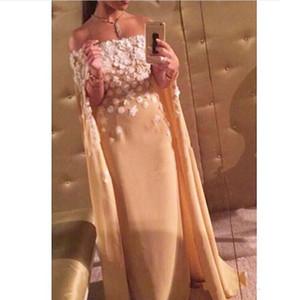 2019 New Real Sample robes de soirée arabes robes sans bretelles hors fleur shouder main longue robe de soirée Kadisua dubai caftan 2018