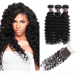 A A Cheap profunda Brasileira de onda Virgin cabelo com fecho 3pcs brasileira onda profunda Cabelo Pacotes com fecho 4pcs Lot Cabelo Humano Weave Wit
