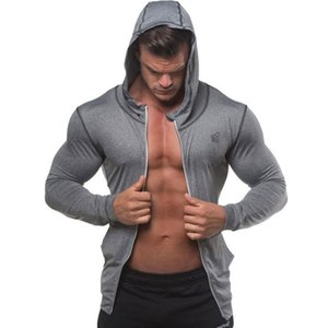 2020 Autumn Men Zipper Thin Sweatshirt Hoodies Man Bodybuilding Workout Hooded Jacket Male Gyms Fitness Jogger Tops Clothing wholesale