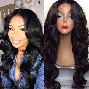 Длинные пушистые вьющиеся волнистые бразильские кружева передних парики для черных женщин Полных париков с воздухом Bangs Женского париком 180% естественный вид