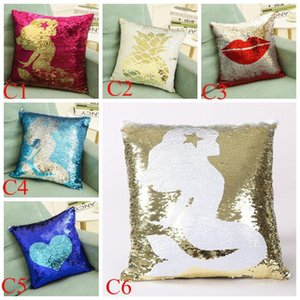 Mermaid Sequins Pillow Case Glitter Paillette Sequins Pillowcase Throw Cushion Cover Home Decoration Double Chrismas Gifts Free Shipping 010