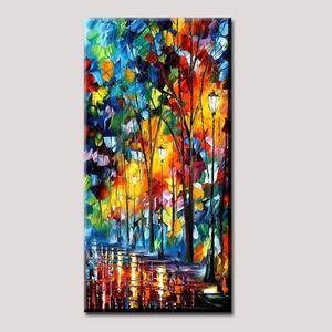 Pintado a mano Arte de la pared Pinturas al óleo abstractas modernas Rain Tree Road Colorido Cuchillo de paleta Pintura al óleo sobre lienzo Para la sala de estar Decoración para el hogar