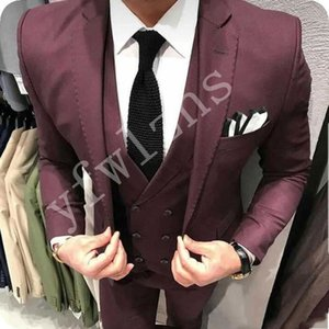 Custom-made Notch Lapel Groomsmen One Button Groom Tuxedos Men Suits Wedding Prom Dinner Best Man Blazer(Jacket+Pants+Tie+Vest) W194