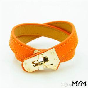 2019 nueva de la vendimia de múltiples capas de cuero de la PU pulseras H para las mujeres del manguito de los brazaletes de los hombres hebilla de oro pulsera de Pulseras Hombre Accesorios joyería masculina