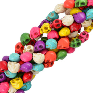 30pcs 10 x13mm Howlite Turquoise sculpté Skull Spacer Perles Making Bijoux