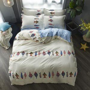 Cartoon Fish Bedding Set Soft Quilt Cover Pillowcase Soft Bed Sets Twin Queen King Duvet cover Children Bedclothes Home Textile