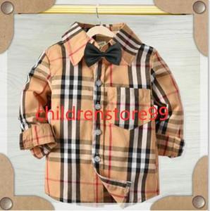 Kinder Kleidung Kleinkind-Baby-Mädchen-karierte Hemden Langarm-T-Shirt Tops Tie-Kleidung-Kinder Designerkleidung für Jungen