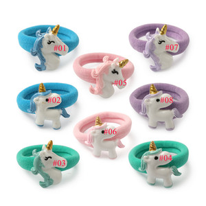 Cute Unicorn Baby Girls Hair Rubber Band Cartton Horse Children Kids Elastic Hairbands for Gift Party Wholesale Price