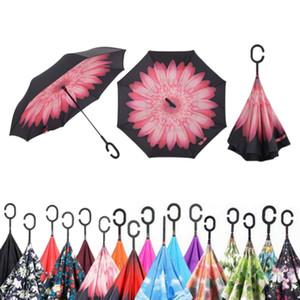 Parapluies inversés inviolables ensoleillés créatifs non automatiques double couche avec poignée en crochet en C