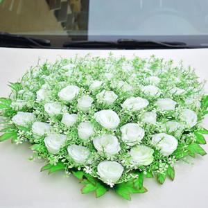 Hochzeit Auto Dekorationen für künstliche Blumen-Silk Rosen-Party-Events Supplies Startseite Geburtstag Christma Dekoration Rosa Rot Weiß