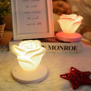 Gece aydınlatması LED USB Şarj edilebilir Gül Şekli 3 Parlaklık Ayarları Romantik Masa Lambası Silikon Işık Sevgililer Günü Hediye