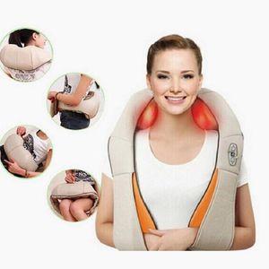 DHL Elétrica Massagem Shiatsu Voltar Shoulder Corpo Pescoço Massager Multifuncional Xaile infravermelho aquecida Amassar Car / Home Massager