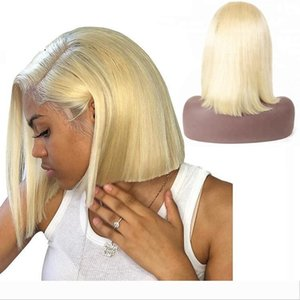 613 Blonde Human Hair Bundle Wig Short Bob Glueless Virgin Peruvian Pre Plucked Hairline 613 Blonde Lace Front Wigs Short With Baby Hair