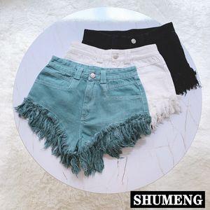 Streetwear Jeans Shorts 2020 Summer New Cool Ins Retro Women High Waist Tassel Denim Shorts Stretch Students