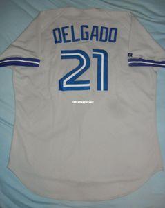 Rétro pas cher Top Russell Athletic # 21 CARLOS DELGADO Maillot Grey de Toronto 48 1996 Maillots de baseball cousus