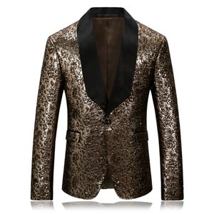 PYJTRL Homens Ouro Jacquard paletó Qualidade Blazer