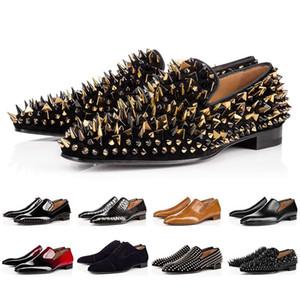 Christian Louboutin Red Bottoms CL shoes  tachonado Spikes Marca de vestir de hombre zapatos de cuero de los hombres del partido de las zapatillas de deporte del amante boda 39-47