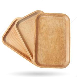 Frutas cuadrados Plato Plato placa de madera plato de postre de galletas placa plato té bandeja del servidor Copa de madera para sujetar el cáliz del cojín del vajilla Bandeja LX1661