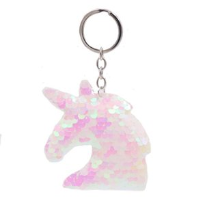 Nettes Einhorn Keychain Glitter Pompom Pailletten Schlüsselring Geschenke für Gäste Frauen Hochzeit Souvenir Auto Tasche Zubehör Schlüsselanhänger