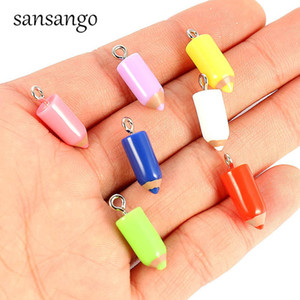 Cheap Charms 10 Piece Alloy Resin Pencil Pendant Charms For Fashion Jewelry Making DIY Necklace Bracelets Wholesale