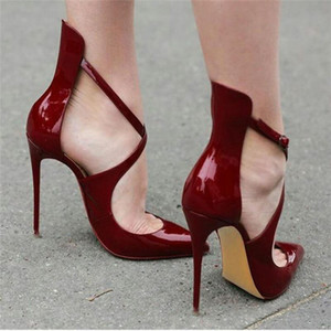 Hot mulheres Sale-ZK 12cm saltos altos sensuais e moda sheos sapatas de vestido patry size34--46 CN