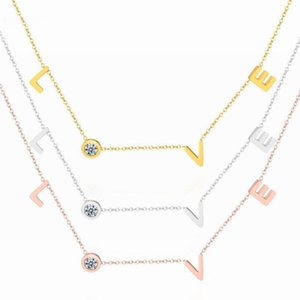 endant Necklaces FYSARA Stainless Steel Round Crystal Pendants Necklace Couple Romantic Luxury LOVE Necklace for Women Choker Wedding Jew...