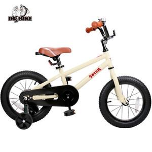 12 14 16 pulgadas Niños Bici Bici Totem bricolaje Beige Acero Niños DIY Etiqueta de bicicletas con ruedas de entrenamiento desmontable y Bell