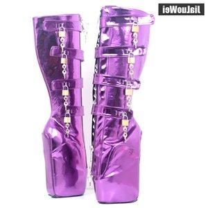 18CM Extreme High Heel Platform Lace-up Lockable Zip Padlock Buckle Strap Sexy Fetish Knee-High Boots Metallic Purple
