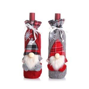Décorations de Noël pour la maison Rouge bouteille de vin couvercle sac bas de Noël cadeau sacs Noël décor de table porte-cadeaux du nouvel an