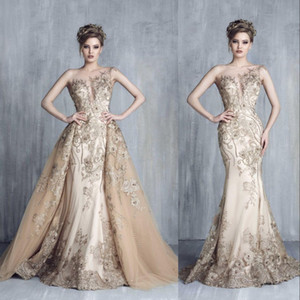 ملابس المساء الرسمية الفاخرة الجديدة ترتدي جويل رقبة وهم حورية البحر شمبانيا Overskurcheats 3D Floral Prom Close Celebrity Party Gowns