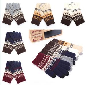 Multicolor 2020 мода женская зимняя жаккардовый сенсорный экран перчатки теплые пальцы перчатки печать держать теплый ветрозащитный DA154