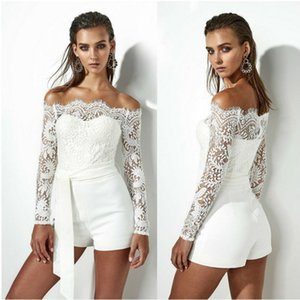 Uguest 2019 Women Solid Long Sleeve Lace Skinny Jumpsuit Sexy Sashes Romper Strapless Shoulder Jumpsuits Lace Bodysuit Summer T200528